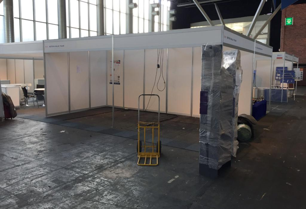Q's stand looked pretty rough before the decoration on Monday morning
